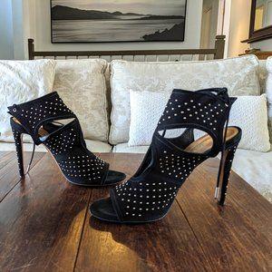 👠 AQUAZZURA Sexy Thing Embellished Suede Heels